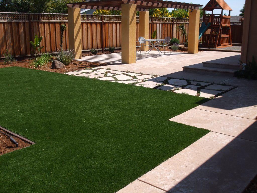 Artificial Grass | Evergreen Landscape & Concrete - San ... on Backyard Ideas Concrete And Grass id=24163